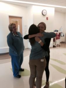 Paula---far left---and Karen, my amazing social worker-friend.
