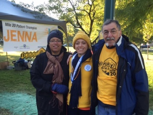 My parents & I at mile 20, honey!
